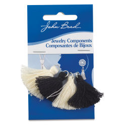 John Bead Cotton Tassels - Black and Ivory, Pkg of 4
