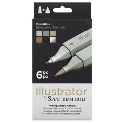 Spectrum Noir Illustrator Markers - Essential Colors, Set of 6