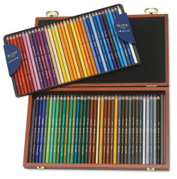 Blick Studio Artists' Colored Pencils - Assorted Colors, Set of 72 in wood box, open, two trays.