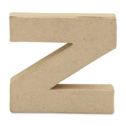 "DecoPatch Paper Mache Small Kraft Letter - Z, Lowercase, 3-1/2"" W x 3-2/5"" H x 1/2"" D"
