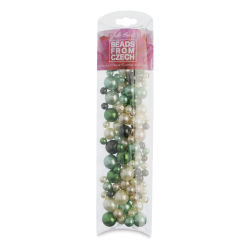John Bead Czech Glass Bead Mix - Emerald Pearls, 100 g