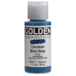 Golden Fluid Acrylics - Cerulean Blue Deep, 1 oz bottle