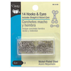Dritz Sew on Fasteners - Hook and Eyes, Nickel Plated, Size 3, Package of 14
