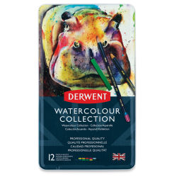 Derwent Watercolor Pencil Set - Assorted Colors, Tin Box , Set of 12
