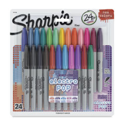 Sharpie Fine Point Marker Set - Assorted with Electro Pop Colors, Set of 24