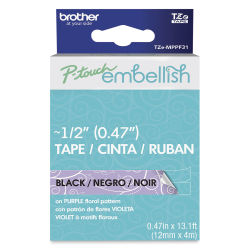 Brother P-Touch Embellish Print Pattern Tape - Black on Purple Florals