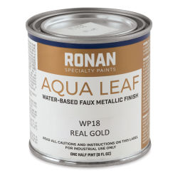 Ronan Aqua Leaf Water-Based Faux Metallic Color - Real Gold, 1/2 Pint