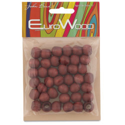 John Bead Euro Wood Beads - Mahogany, Round Large Hole, 12 mm x 9.8 mm, Pkg of 40