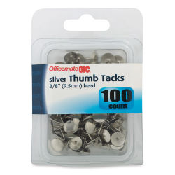 Officemate Thumbtacks - Silver, 100 pieces