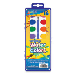 Liqui-Mark Washable Watercolor Sets - Set of 16 With Brush, Assorted Colors, Oval