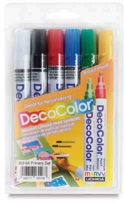 Decocolor Paint Marker - Primary Colors, Broad Tip, Set of 6