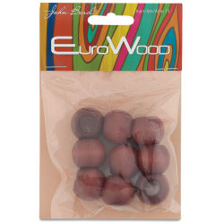 John Bead Euro Wood Beads - Mahogany, Round Large Hole, 20 mm x 16 mm, Pkg of 9