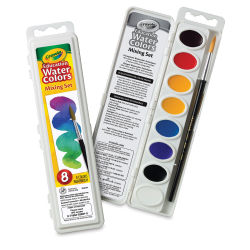 Crayola Educational Watercolor Set-Set of 8 Oval Mixing Colors Outside and Inside of Package