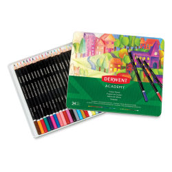 Derwent Academy Colored Pencil Set - Assorted Colors, Tin Box, Set of 24