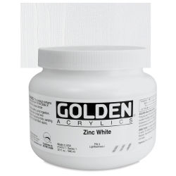 Golden Heavy Body Artist Acrylics - Zinc White, 32 oz Jar