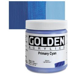 Golden Heavy Body Artist Acrylics - Primary Cyan, 8 oz Jar