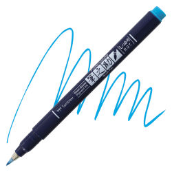 Tombow Fudenosuke Brush Pen - Blue Neon, Hard Tip