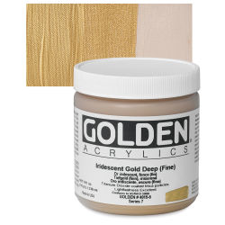 Golden Heavy Body Artist Acrylics - Iridescent Gold Deep (Fine), 8 oz Jar