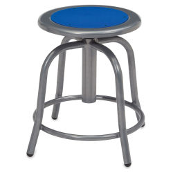 National Public Seating Designer Swivel Stool - Grey Frame/Prussian Blue Seat