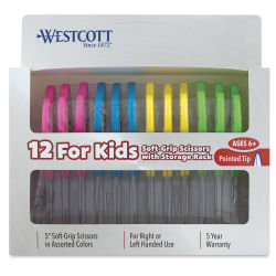 Westcott Soft Handle Scissors Teacher Pack - Set of 12, Assorted Colors, Pointed
