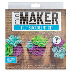 Leisure Arts Mini Maker Felt Succulent Kit - Blue (Front of packaging)