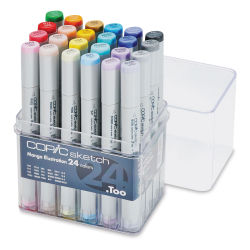 Copic Sketch Markers, Set of 24 Manga Colors. Front of package, four rows of markers, lid off.