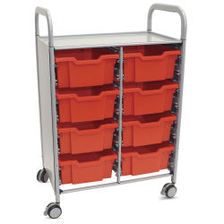 Gratnells Callero Storage Cart with 8 Deep Trays - Flame Red