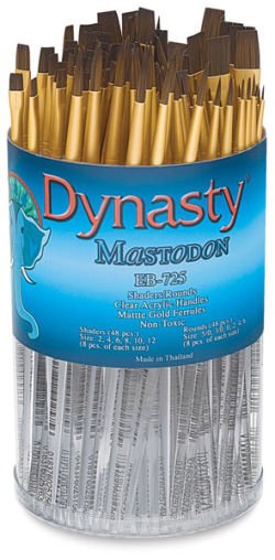 Dynasty Mastodon Synthetic Brush Canister - Shader/Round, Set of 96