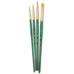 Princeton Real Value Brush Set - 9115, Golden Taklon, Short Handle, Set of 4