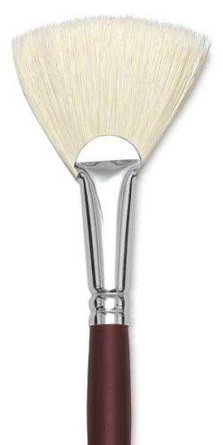 Silver Brush Silverstone Premium White Hog Bristle Brush - Fan, Long Handle, Size 12