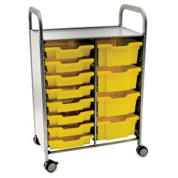 Gratnells Callero Plus Cart - Double Cart, 8 Shallow and 4 Deep Trays, Sunshine Yellow