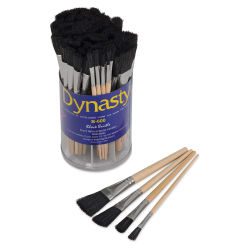 Dynasty Black Bristle Brush Canister - Flats, Short Handle