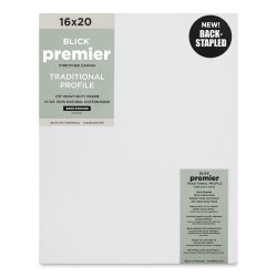 "Blick Premier Cotton Canvas - Back-Stapled, 7/8"" Traditional Profile, 16"" x 20"""