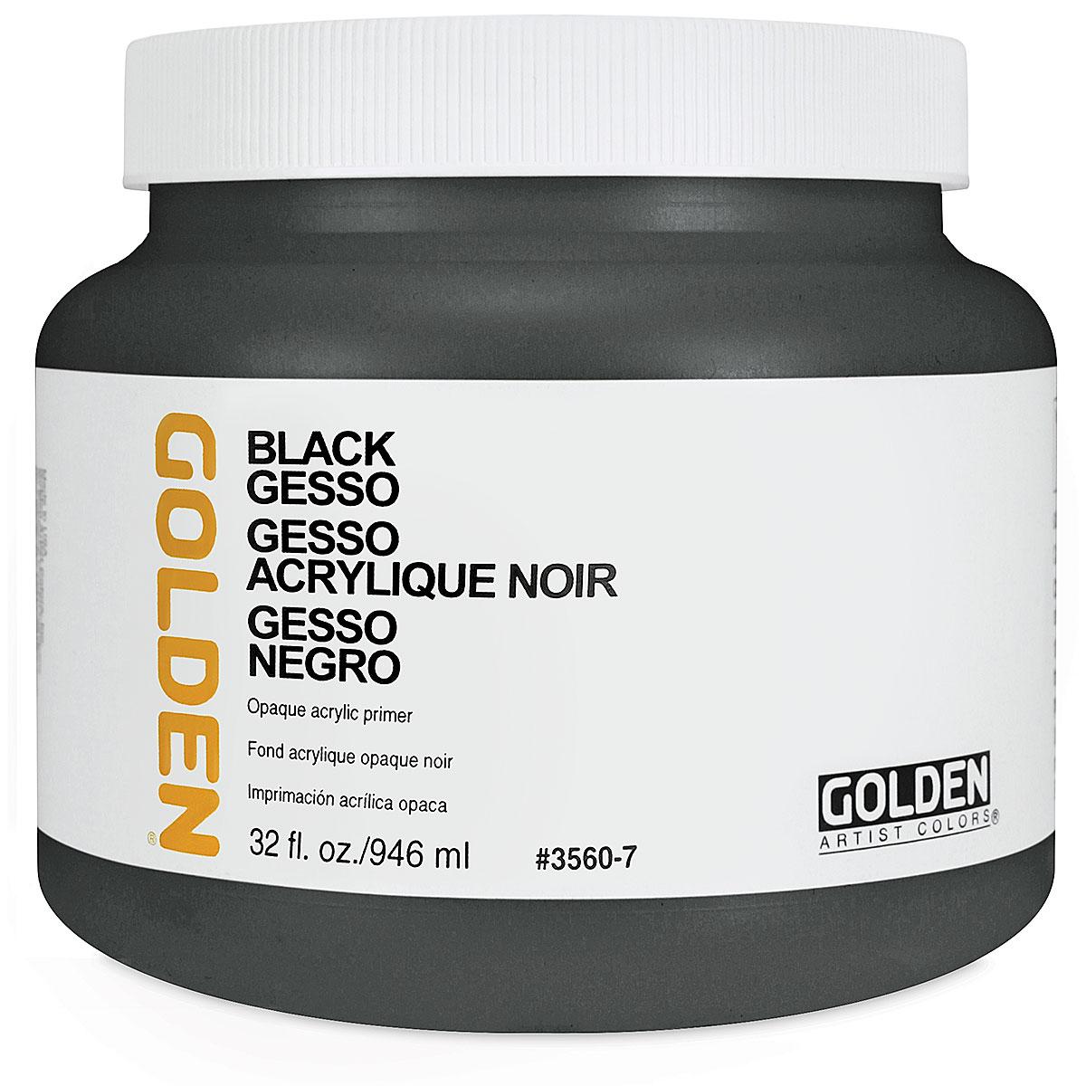 Golden Gesso - Black, 32 oz jar