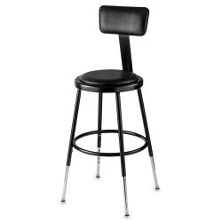 National Public Seating Corp. Adjustable Padded Stool - With Backrest, 19'' - 27'' tall, Black