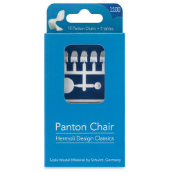"Schulcz Scale Model Furniture - Panton Chairs and Tables, Pkg of 12, 1:100, 1/8"" (front of package)"