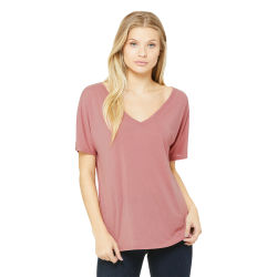 Bella + Canvas Slouchy V-neck Tee - Mauve, Small