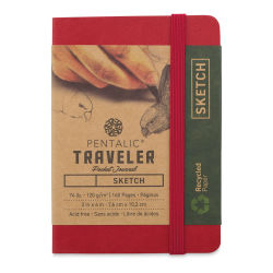 Pentalic Recycled Traveler's Sketchbook - 4-1/8'' x 2-7/8'', Red