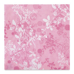 "Black Ink Thai Mulberry Screenprinted Chinaberry Decorative Paper - Pink, 12"" x 12"""