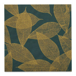 "Black Ink Screenprinted Leaves Mulberry Decorative Paper - Emerald, 12"" x 12"""
