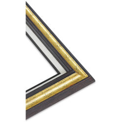 Blick Traditional Wood Frame - 20'' x 24'' x 3/8'', Brushed Walnut Finish, Gold Leaf Band