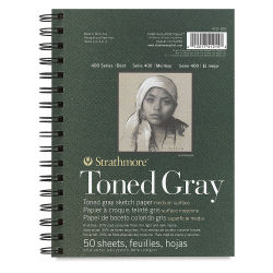 Strathmore 400 Series Recycled Toned Sketch Journal - 8-1/2'' x 5-1/2'', 50 Sheets, Cool Gray