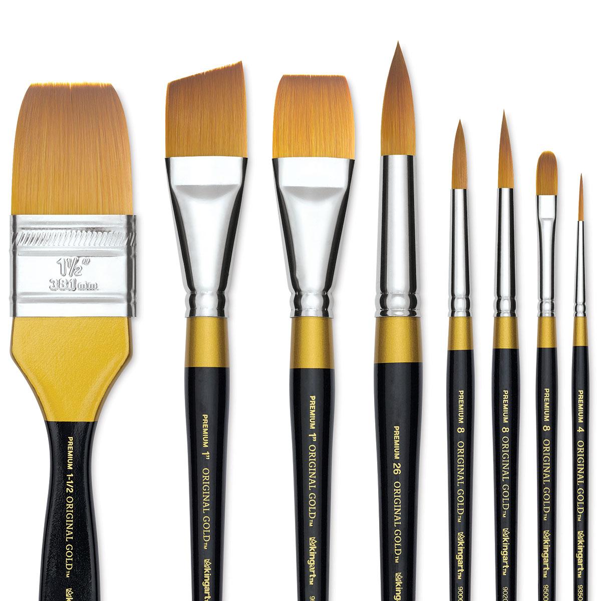 KingArt Original Gold 9050 Series 10//0 Premium Artist Brush Golden TAKLON Script Liner-Size