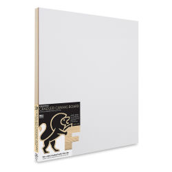 "Fredrix Cradled Canvas Board - 16"" x 20"" x 7/8"" (In packaging, angled view)"