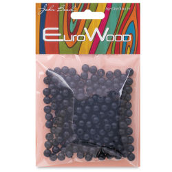 John Bead Euro Wood Beads - Black, Round, 6 mm, Pkg of 200