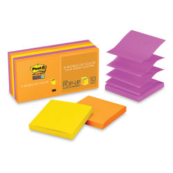 3M Post-it Super Sticky Notes - 3'' x 3'', Rio De Janeiro Collection, Blank, Pop-up, Pkg of 10