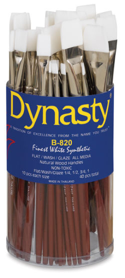 Dynasty White Taklon Set - Flat Wash, Short Handle, Set of 40