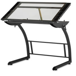 Studio Designs Triflex Drawing Table - Charcoal Frame, Clear Glass