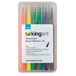 Kingart Watercolor Brush Markers - Set of 12