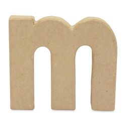 "DecoPatch Paper Mache Small Kraft Letter - M, Lowercase, 3-3/4"" W x 3-2/5"" H x 1/2"" D"